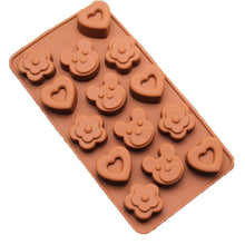 Load image into Gallery viewer, Cute Bear Heart Flower Chocolate Mold Candy Ice Soap Mould Fun Maker Silicone