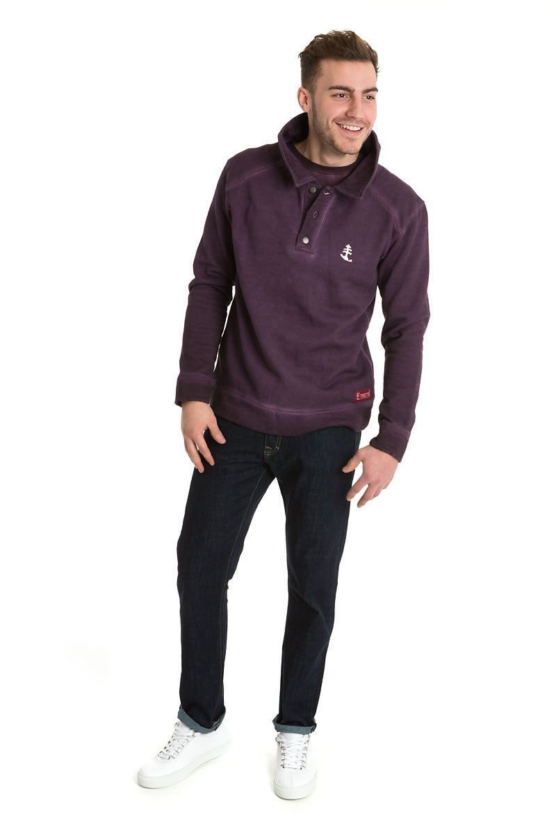 Men's Purple Buttoned Polo Jumper