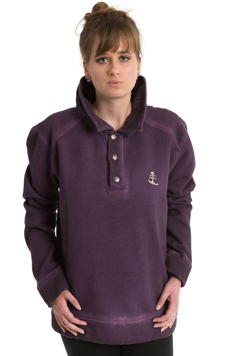 Womens Purple Buttoned Polo Jumper