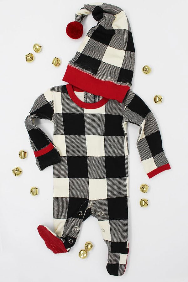 Holiday Overall & Cap Set-Buffalo Check