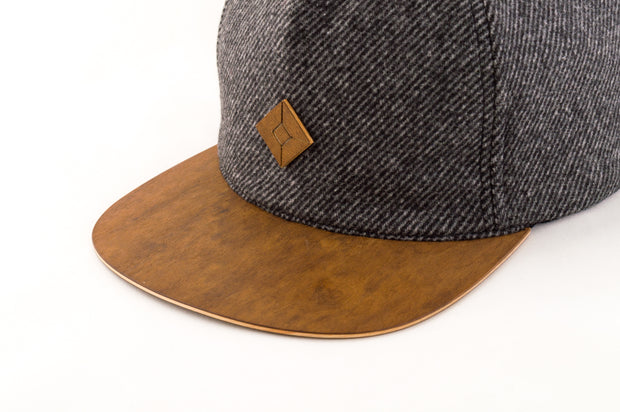 5 panel hat with wood brim