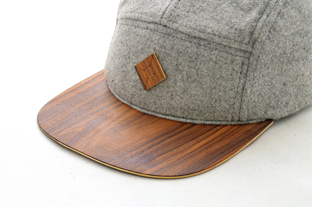 5 panel hat with Pau ferro wood brim