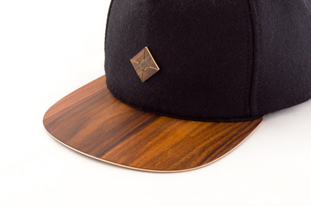 snapback cap with wood brim