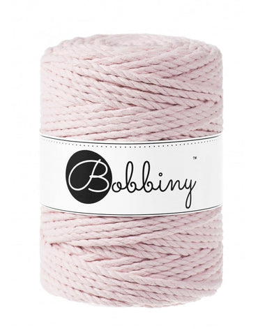 Baby Pink Bobbiny 3ply 5mm Macrame Rope 100m