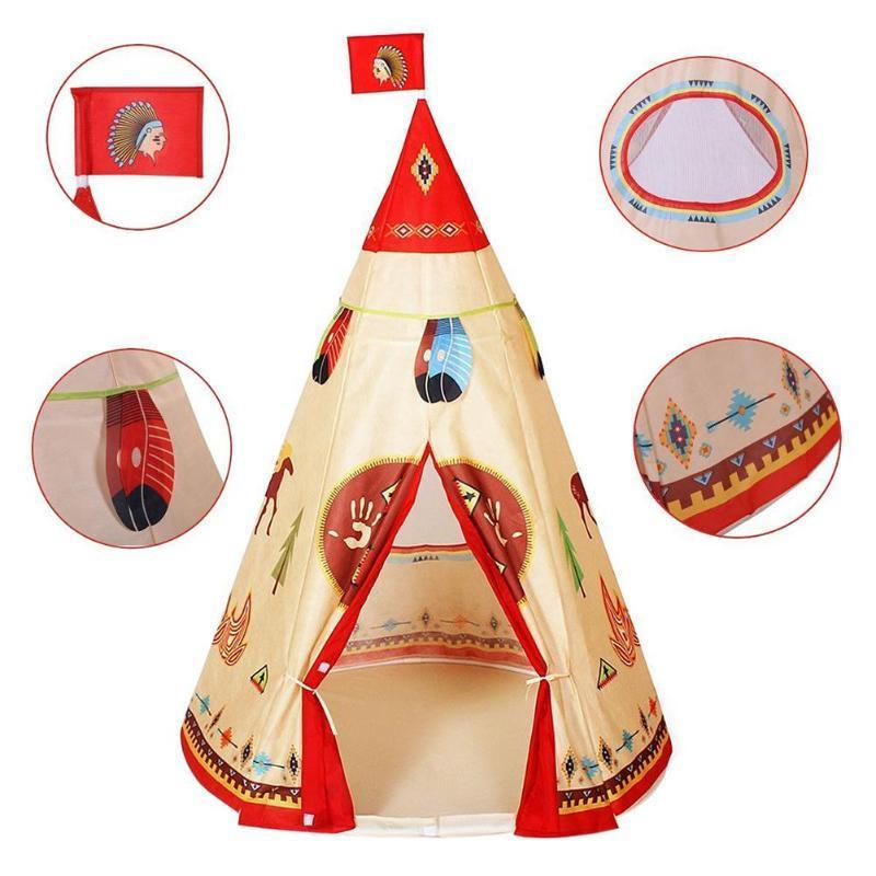 PINkart-USA 1Pcs Children Tent Natural Indian Pattern Unisex Children Toy Tent Cloth Teepees Safety Portable