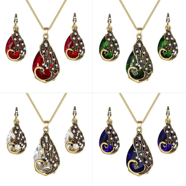 PINkart-USA Crystal Peacock Necklace Earrings Jewelry Set Fashion Lady Water Drop Pendant Necklace Animal