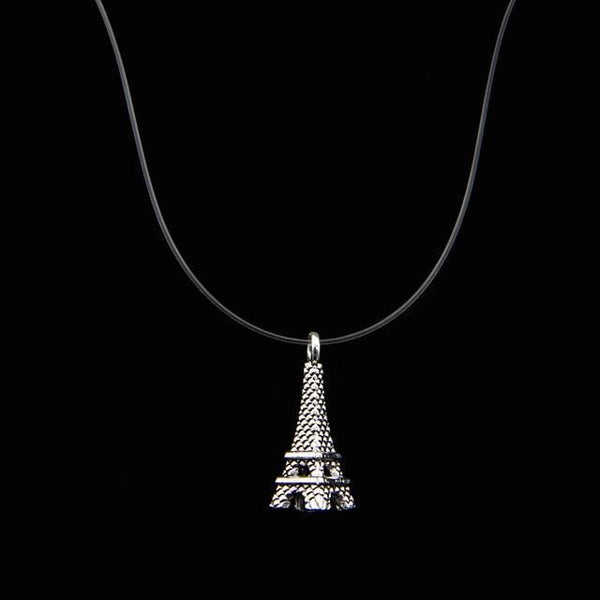 PINkart-USA Eiffel Tower Poputton Female Transparent Fishing Line Necklace Silver Invisible Chain Necklace Women