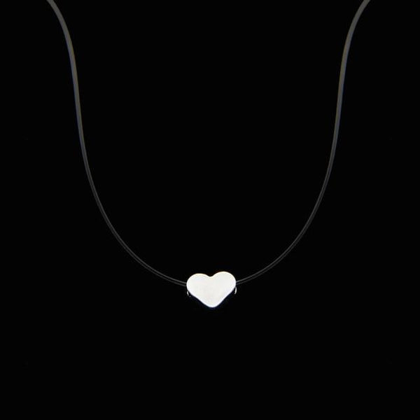 PINkart-USA Heart Poputton Female Transparent Fishing Line Necklace Silver Invisible Chain Necklace Women