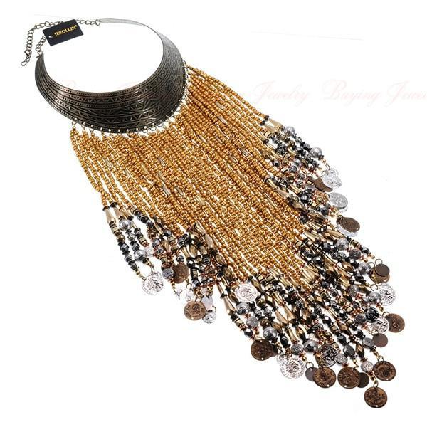 PINkart-USA N0010811 / China Vintage Women Jewelry Pendant Resin Tassels Statement Choker Bib Necklace