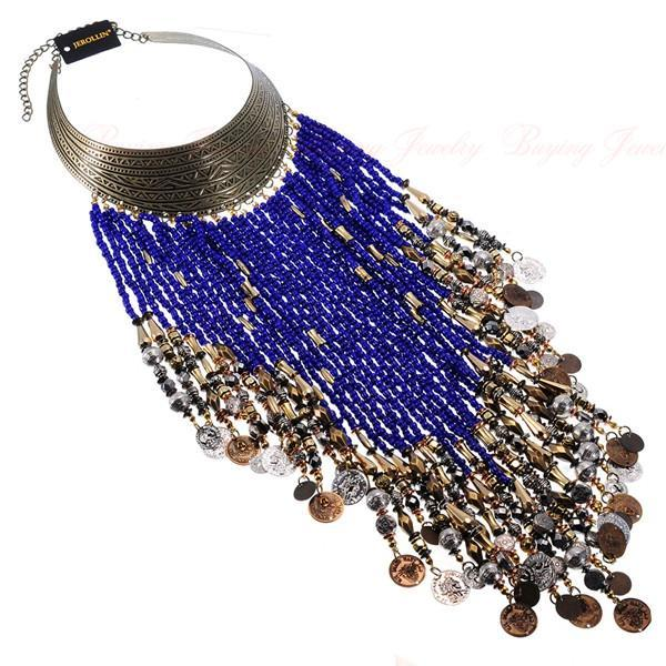 PINkart-USA N0010812 / China Vintage Women Jewelry Pendant Resin Tassels Statement Choker Bib Necklace