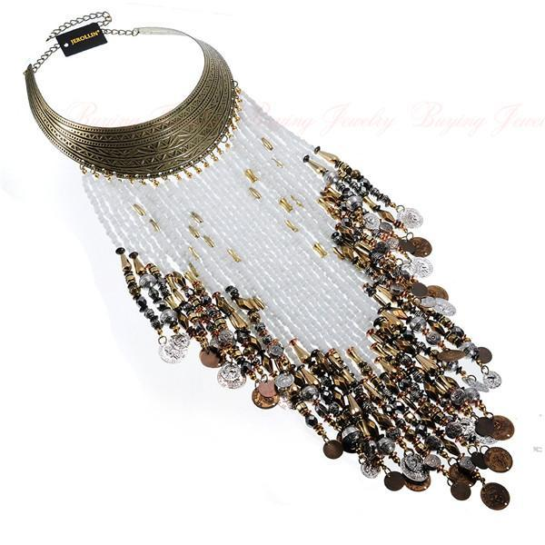 PINkart-USA N0010813 / China Vintage Women Jewelry Pendant Resin Tassels Statement Choker Bib Necklace
