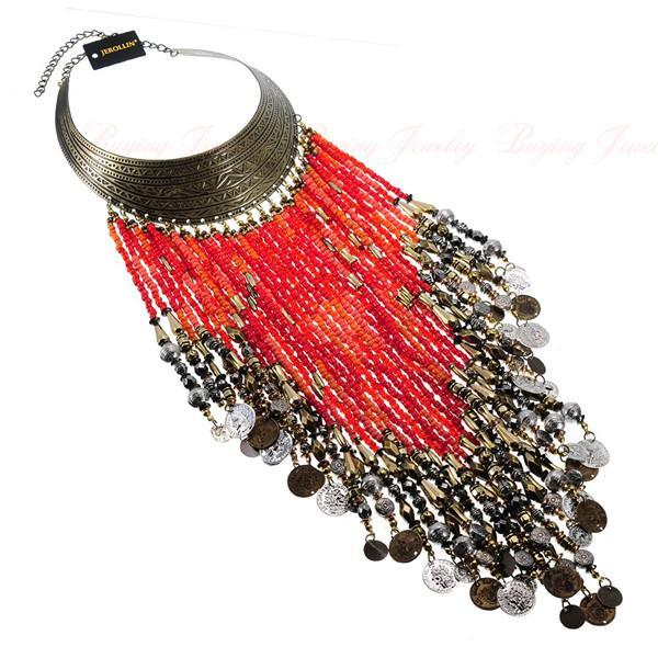 PINkart-USA N0010814 / China Vintage Women Jewelry Pendant Resin Tassels Statement Choker Bib Necklace