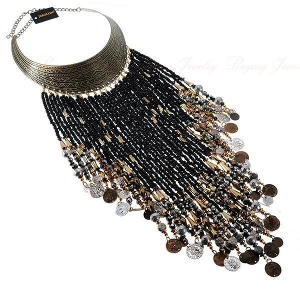 PINkart-USA N0010815 / China Vintage Women Jewelry Pendant Resin Tassels Statement Choker Bib Necklace
