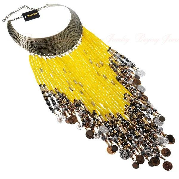 PINkart-USA N0010816 / China Vintage Women Jewelry Pendant Resin Tassels Statement Choker Bib Necklace