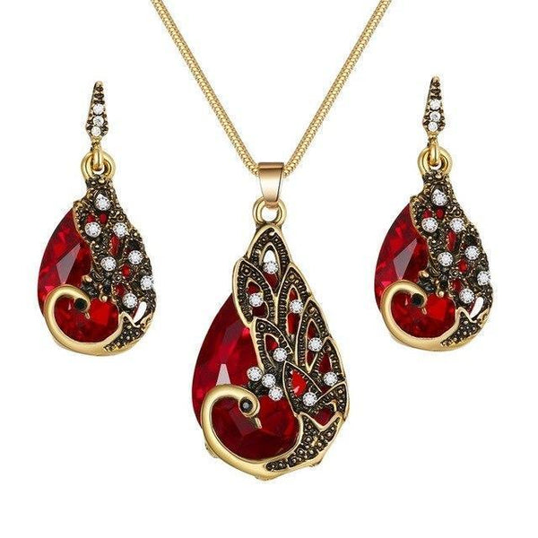 PINkart-USA N793-1 Crystal Peacock Necklace Earrings Jewelry Set Fashion Lady Water Drop Pendant Necklace Animal