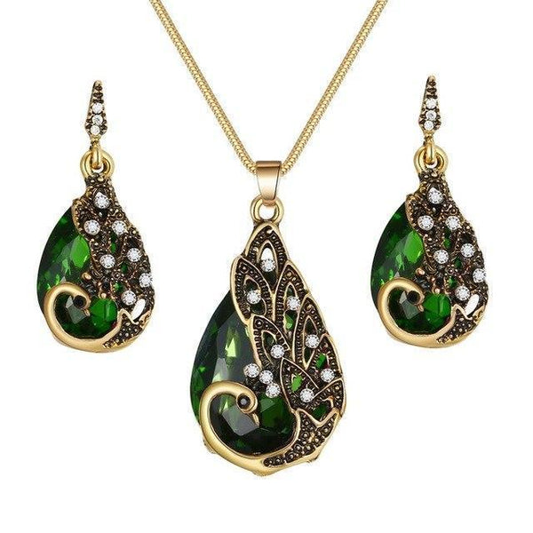 PINkart-USA N793-2 Crystal Peacock Necklace Earrings Jewelry Set Fashion Lady Water Drop Pendant Necklace Animal