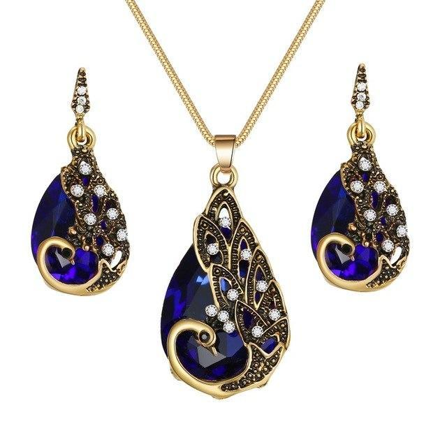 PINkart-USA N793-3 Crystal Peacock Necklace Earrings Jewelry Set Fashion Lady Water Drop Pendant Necklace Animal