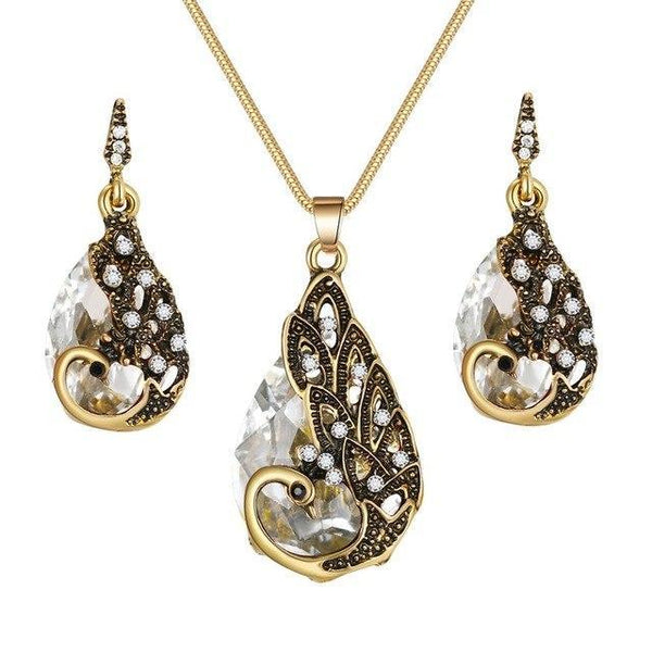 PINkart-USA N793-4 Crystal Peacock Necklace Earrings Jewelry Set Fashion Lady Water Drop Pendant Necklace Animal