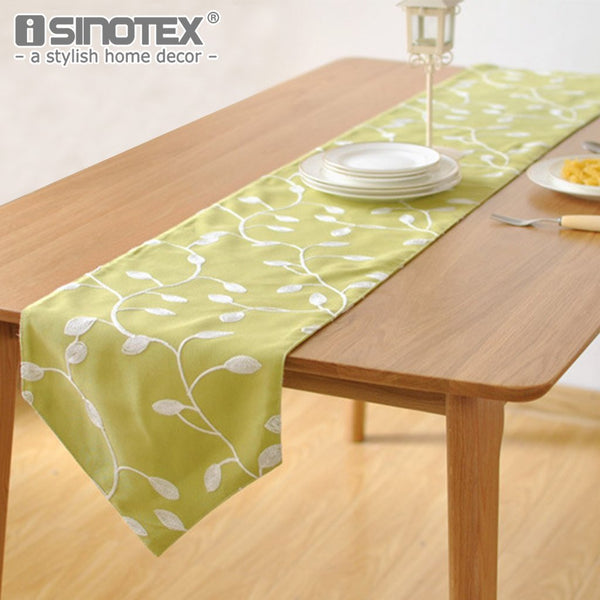 PinKart-USA Online Shopping 100% Cotton Pastoral Style Table Runner White Flowers Embroidered Table Cover Dustproof Table