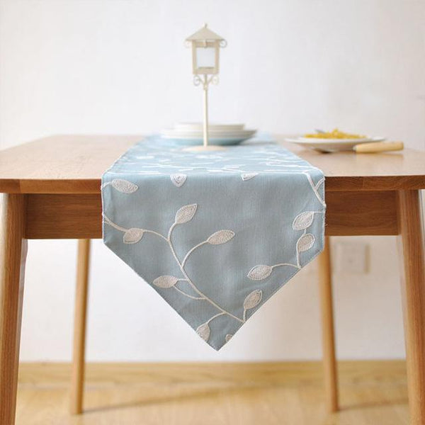 PinKart-USA Online Shopping 30x140cm / blue 100% Cotton Pastoral Style Table Runner White Flowers Embroidered Table Cover Dustproof Table
