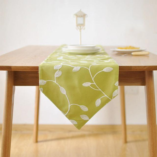 PinKart-USA Online Shopping 30x140cm / green 100% Cotton Pastoral Style Table Runner White Flowers Embroidered Table Cover Dustproof Table