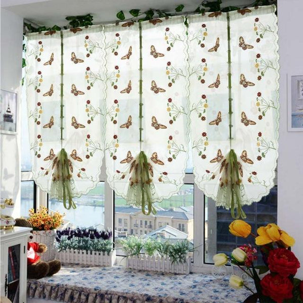 PinKart-USA Online Shopping Beige Rod Pocket / W80cm xH120cm 1 Pcs Pastoral Tulle Window Roman Curtain Embroidered Sheer For Kitchen Living Room Bedroom