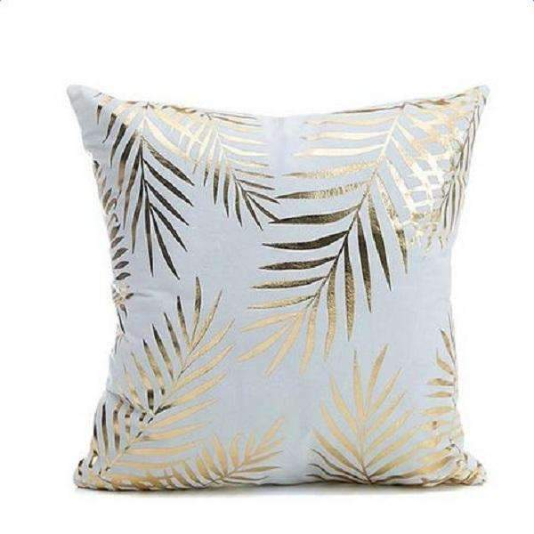 PinKart-USA Online Shopping Big Leaf Several Styles Cotton Pillow Cover Creative Shining Gilding Pattern Gift Pillow Case Throw