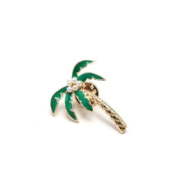 F.J4 Vintage Designer Enamel Styled Pineapple Shell Tree Shell Brooches Pins For