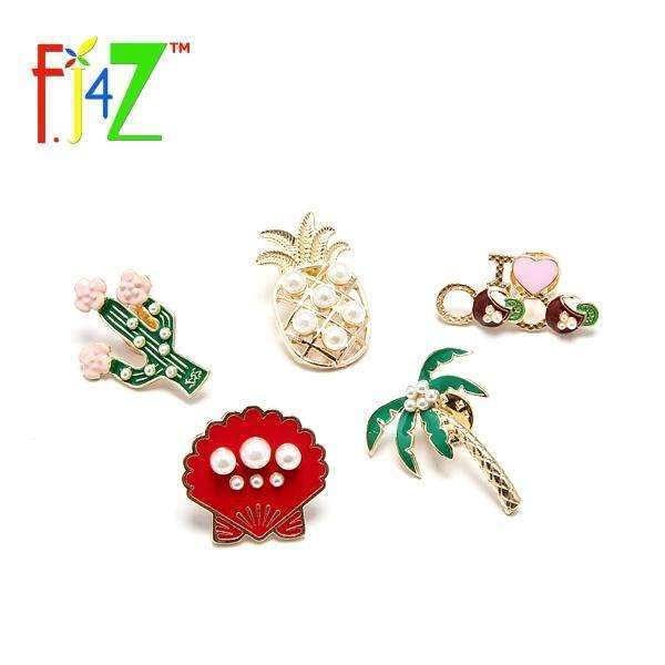 PinKart-USA Online Shopping F.J4 Vintage Designer Enamel Styled Pineapple Shell Tree Shell Brooches Pins For