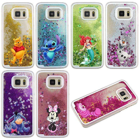 PinKart-USA Online Shopping For Samsung Galaxy S7 Case Cute Stitch Mickey Shining Liquid Quicksand Mobile Phone Case Cover