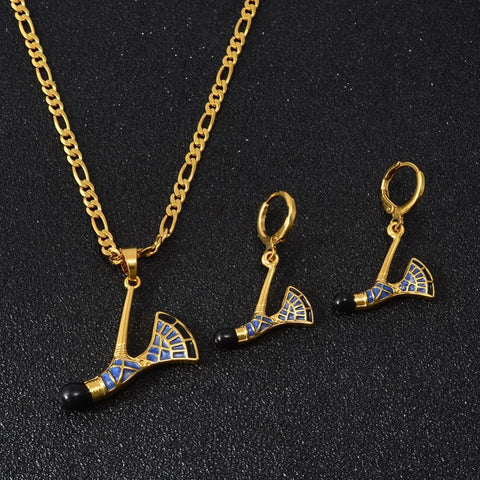 PINkart-USA Online Shopping Two Color Papua New Guinea Ax Enamel Pendant Necklaces Earrings For Women Traditional Png Axe