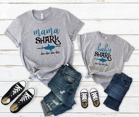 Mama Shark, Baby Shark, Daddy Shark, Family Matching Shark Shirts.