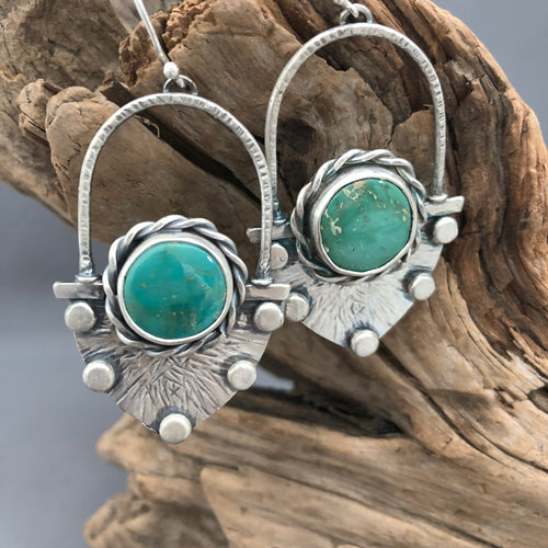 Turquoise and Sterling Silver 'Fan' Earrings
