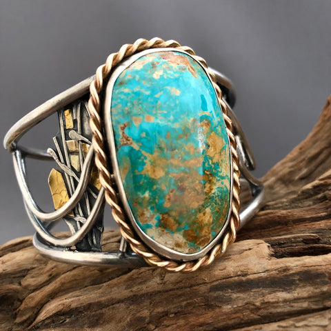 Turquoise and silver leather bracelet