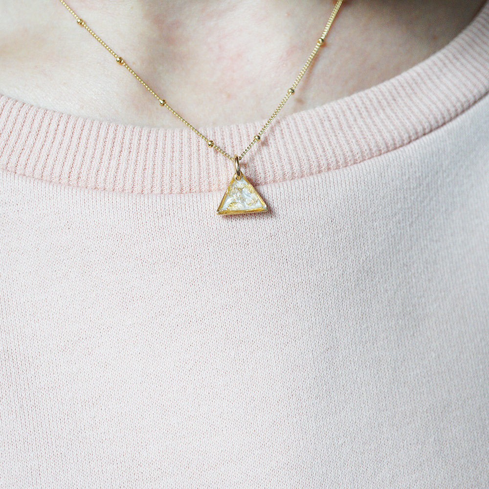 Pearl and Gold Leaf Triangle Necklace