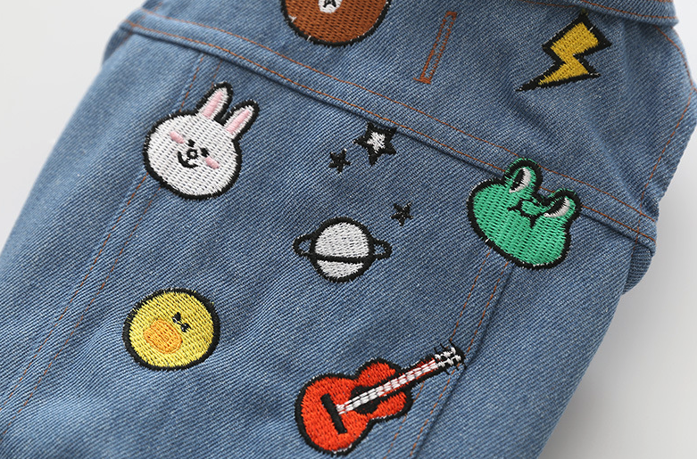 Denim Sleeveless Jacket with Cartoon Patches
