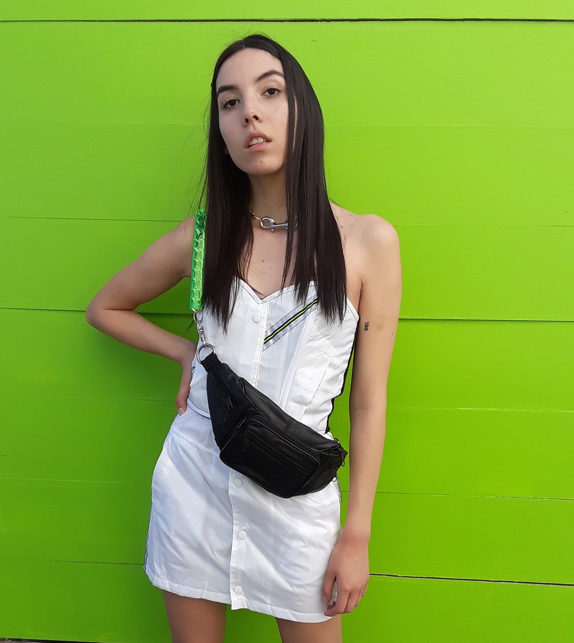 windbreaker bustier white or black neon bustier or solid color