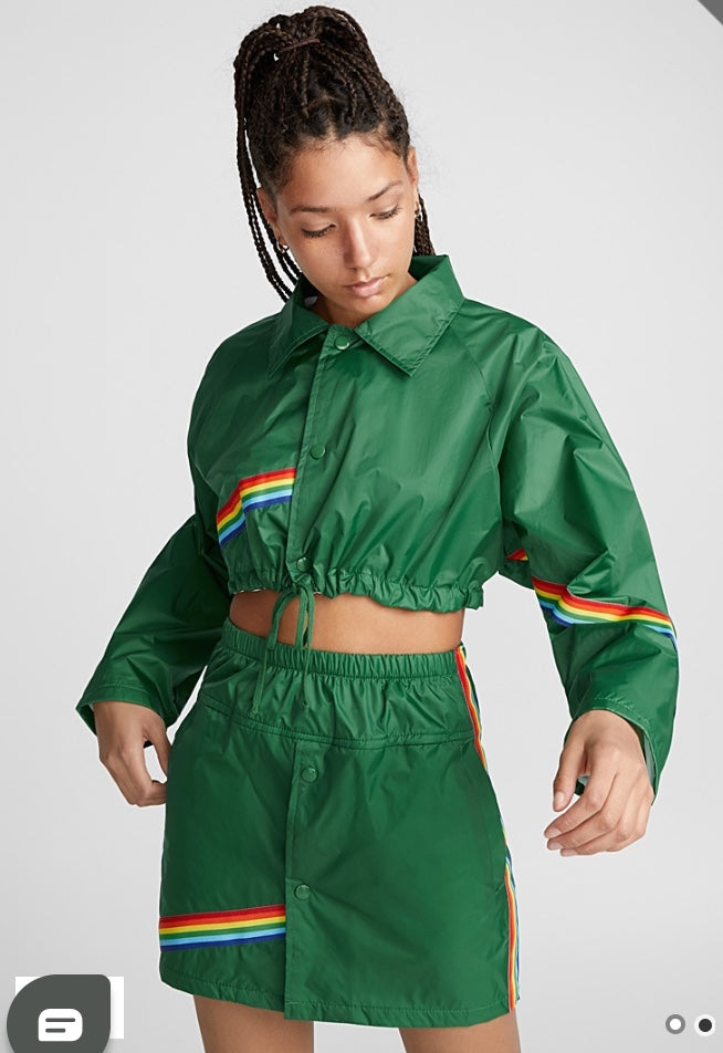 rainbow chaotic crop windbreaker jacket