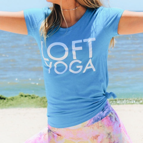Loft Yoga Ladies Logo Tee in Heather Turquoise