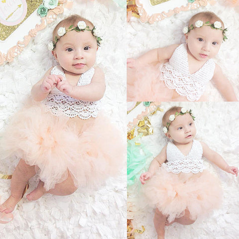 Cute Princess Baby Girl Dress Lace Tulle Romper