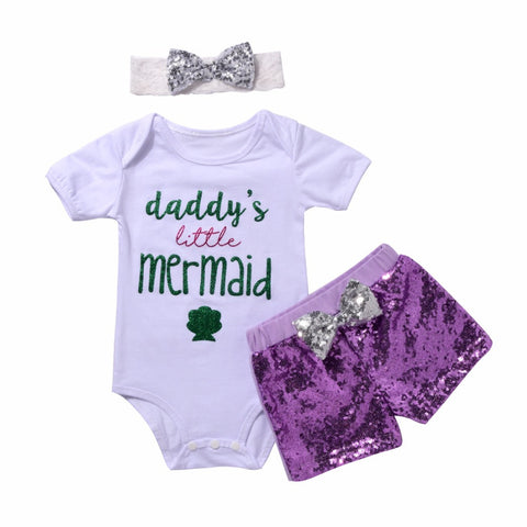 Daddy's Little Mermaid & I Make Daddy's heart Romper+Shorts
