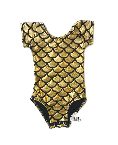 Gold Mermaid Cap Sleeve Leotard (large scales)