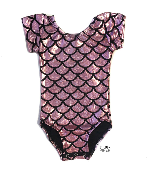 Pink Mermaid Cap Sleeve Leotard (large scales)