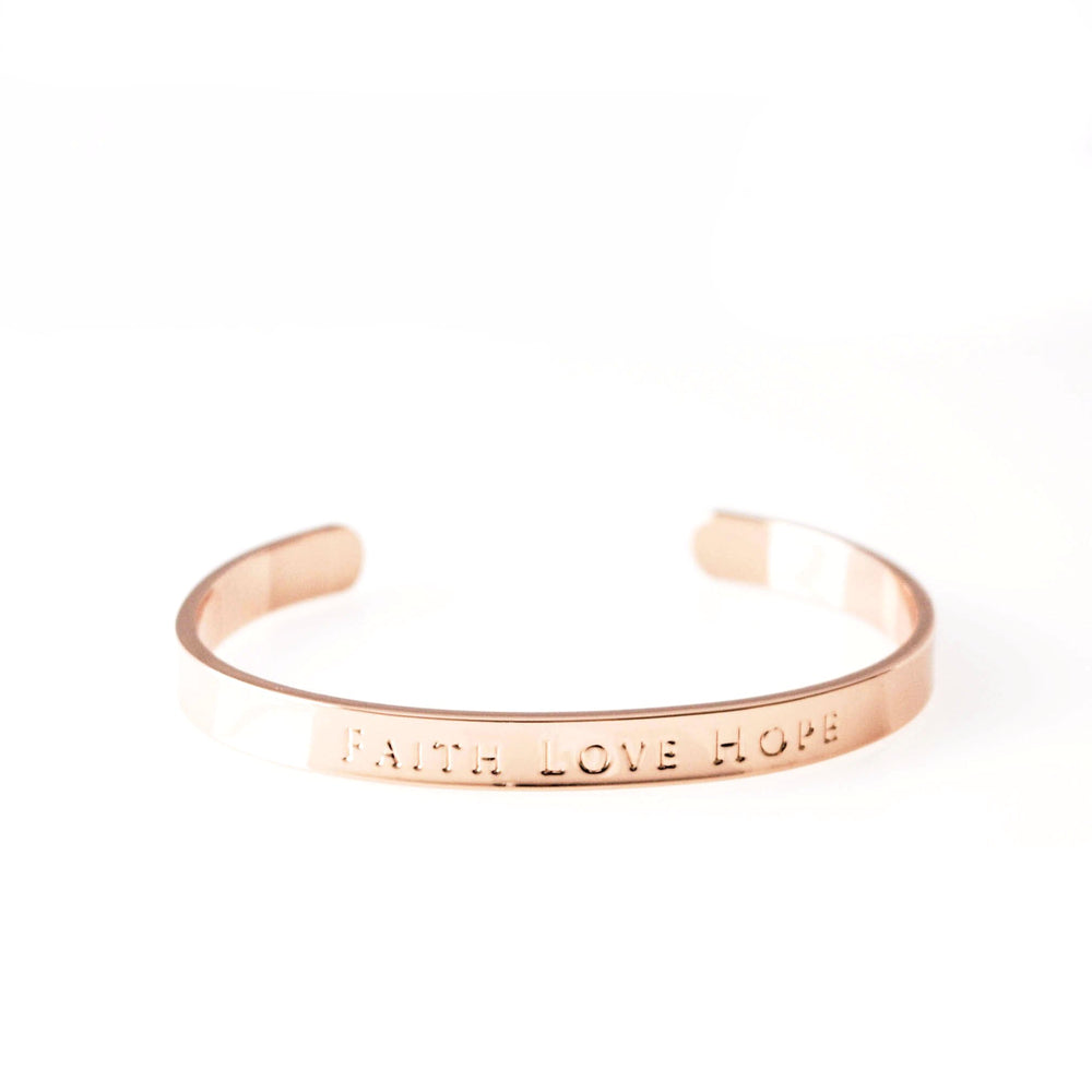 Cuff Bracelet Faith Love Hope