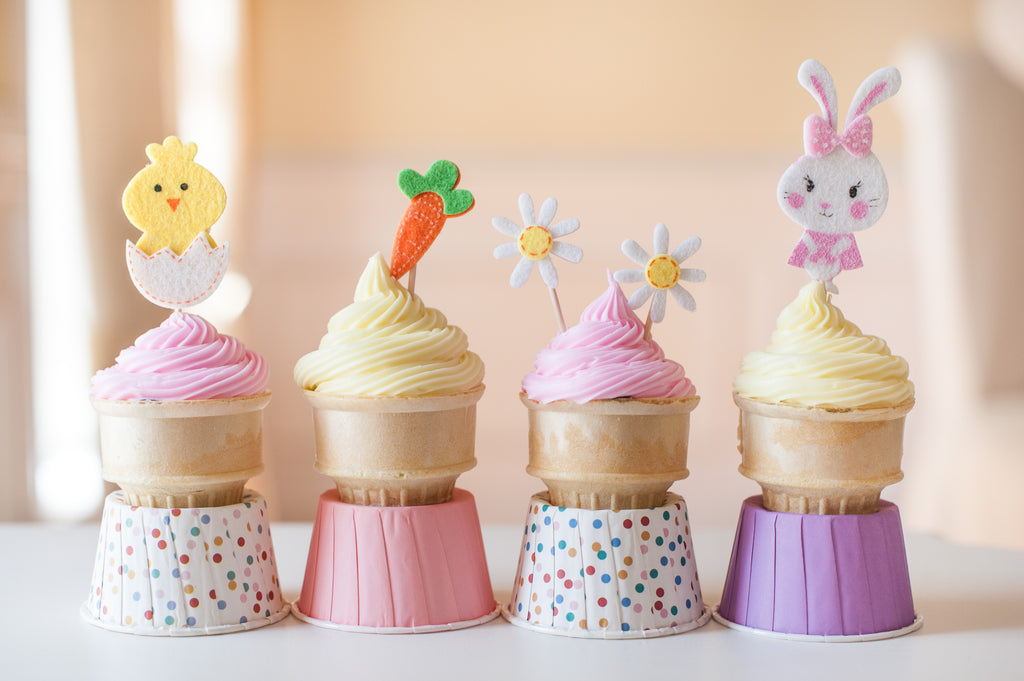 Easter Cone Cakes Using Stickers