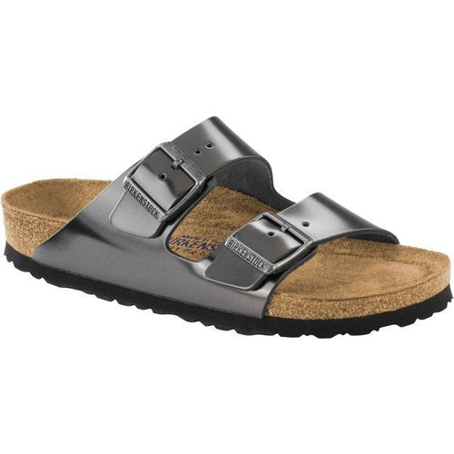 ARIZONA METALLIC ANTHRACITE LEATHER NARROW SOFT FOOTBED - getset-footwear