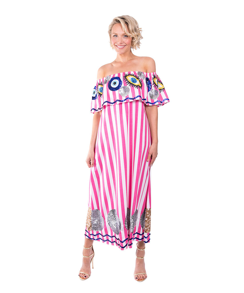 The Pink and White Striped Evil Eye Dress