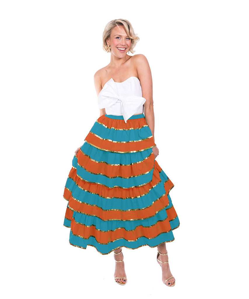 The Turquoise and Orange Imperial Ruffle Skirt by Bonita Kaftans