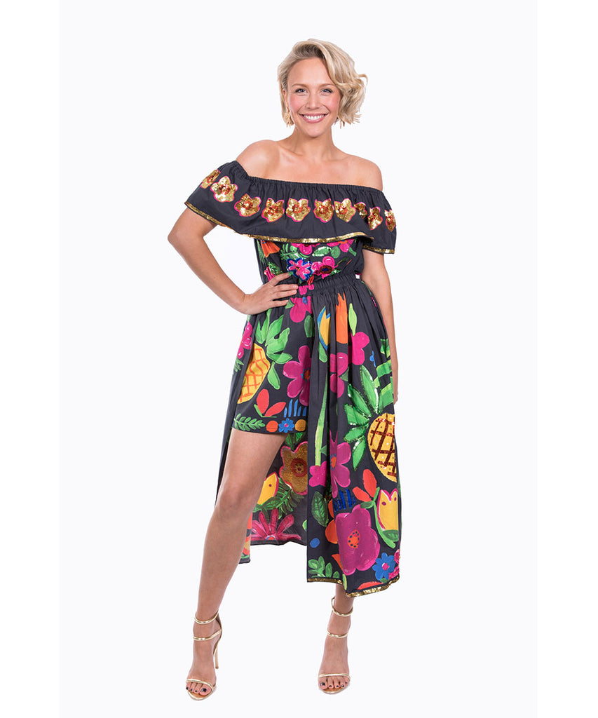 The Black Tropical Valley Playsuit by Bonita Kaftans
