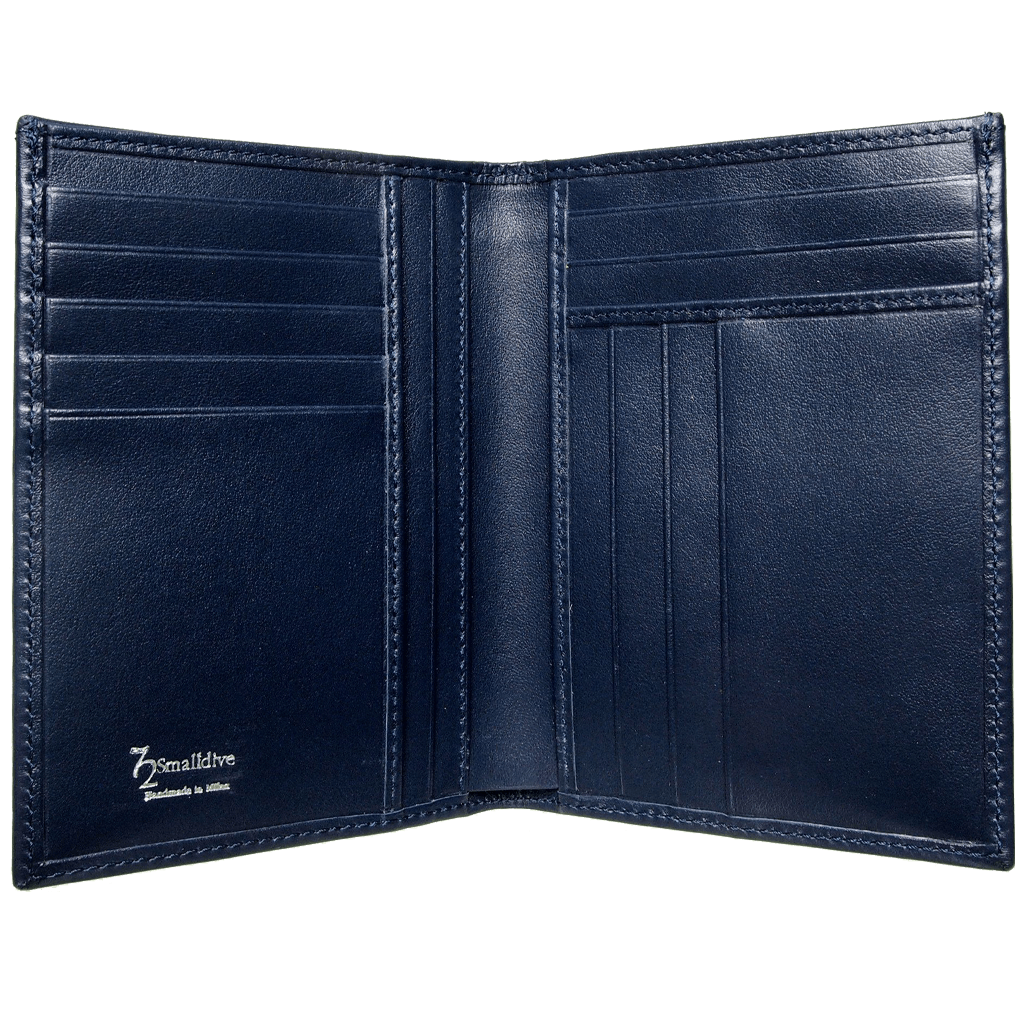 8 CC Buffed Calf Leather Pocket Billfold Blue-Mens Wallets-72 Smalldive